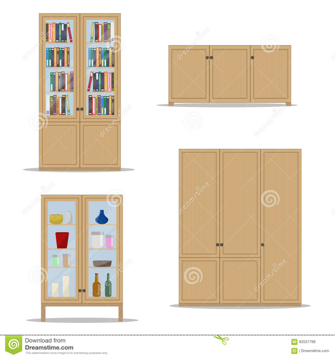 Interior wooden shelves free vector - Bookshelf Cabinet Classic Cupboard Flat Illustration Interior Isolated Style Vector Wardrobe Wooden Bedroom Living Brown Bookcase