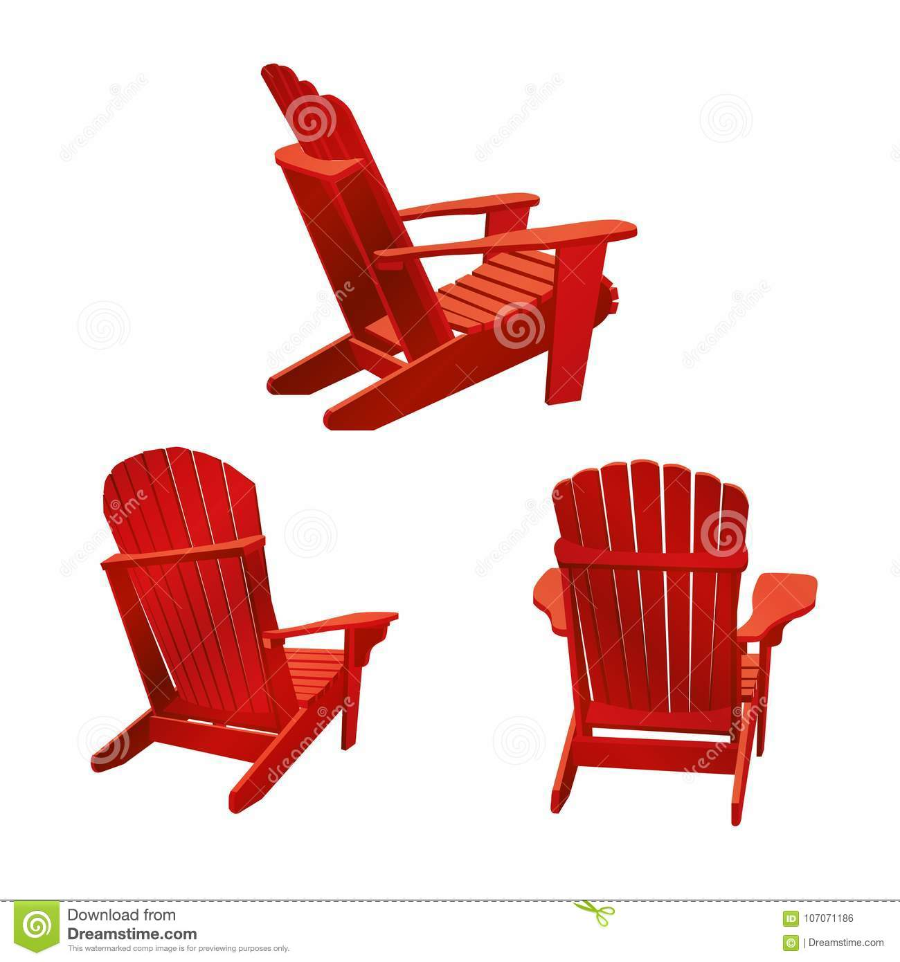Classic Wooden Outdoor Chair Painted In Red Color Garden