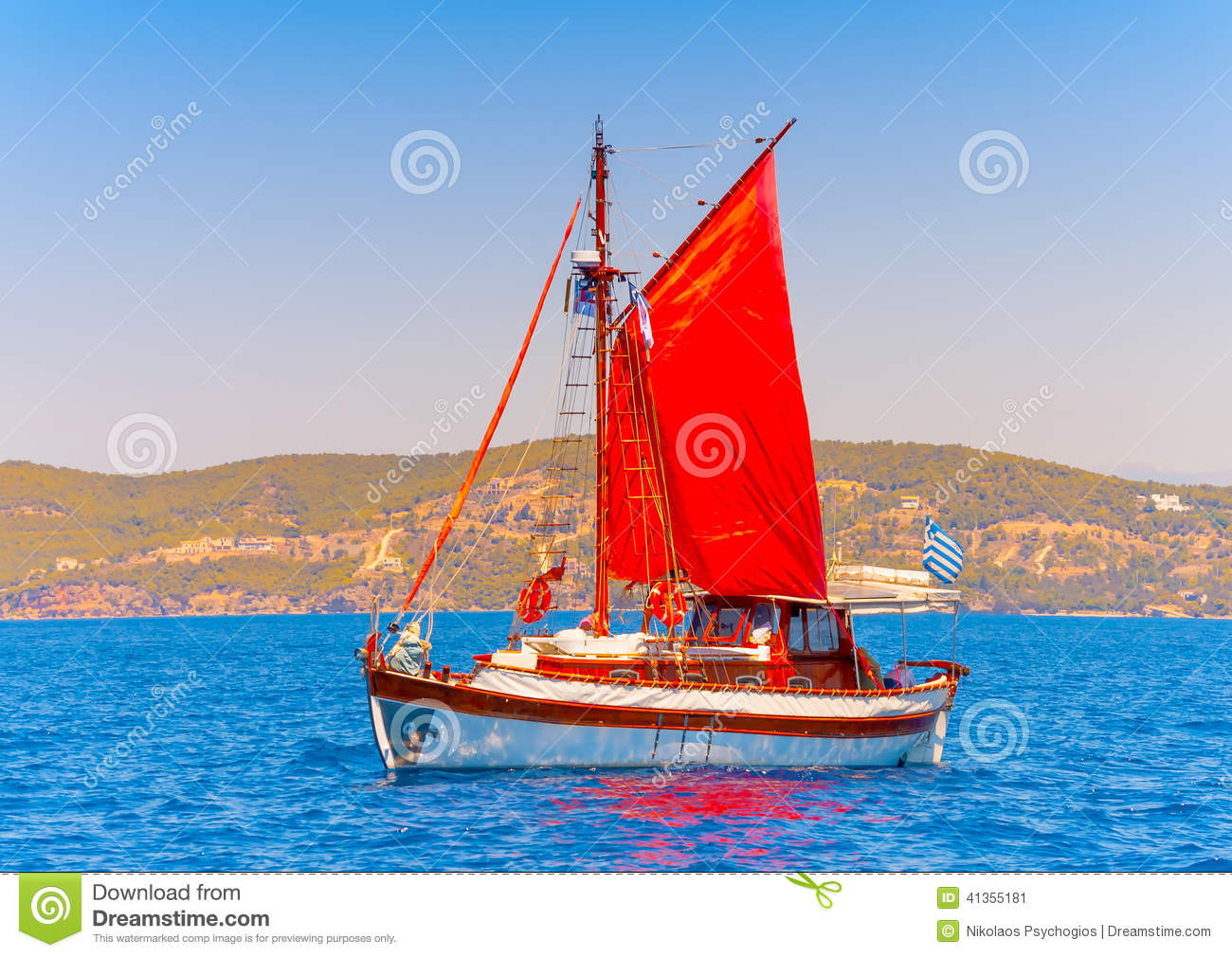 old classic wooden greek boat kaiki with sails during a classic boats ...