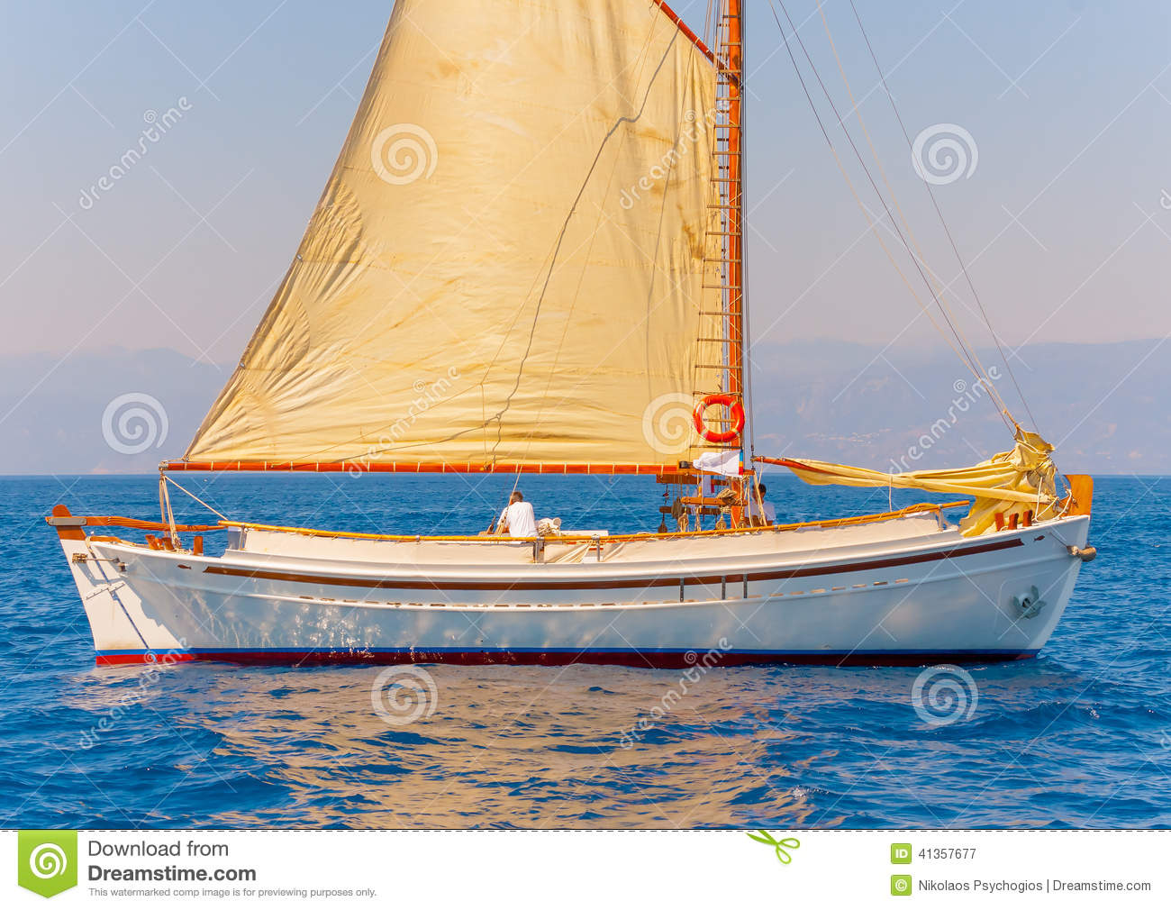 Classic Wooden Sailing Boat Editorial Photography - Image ...