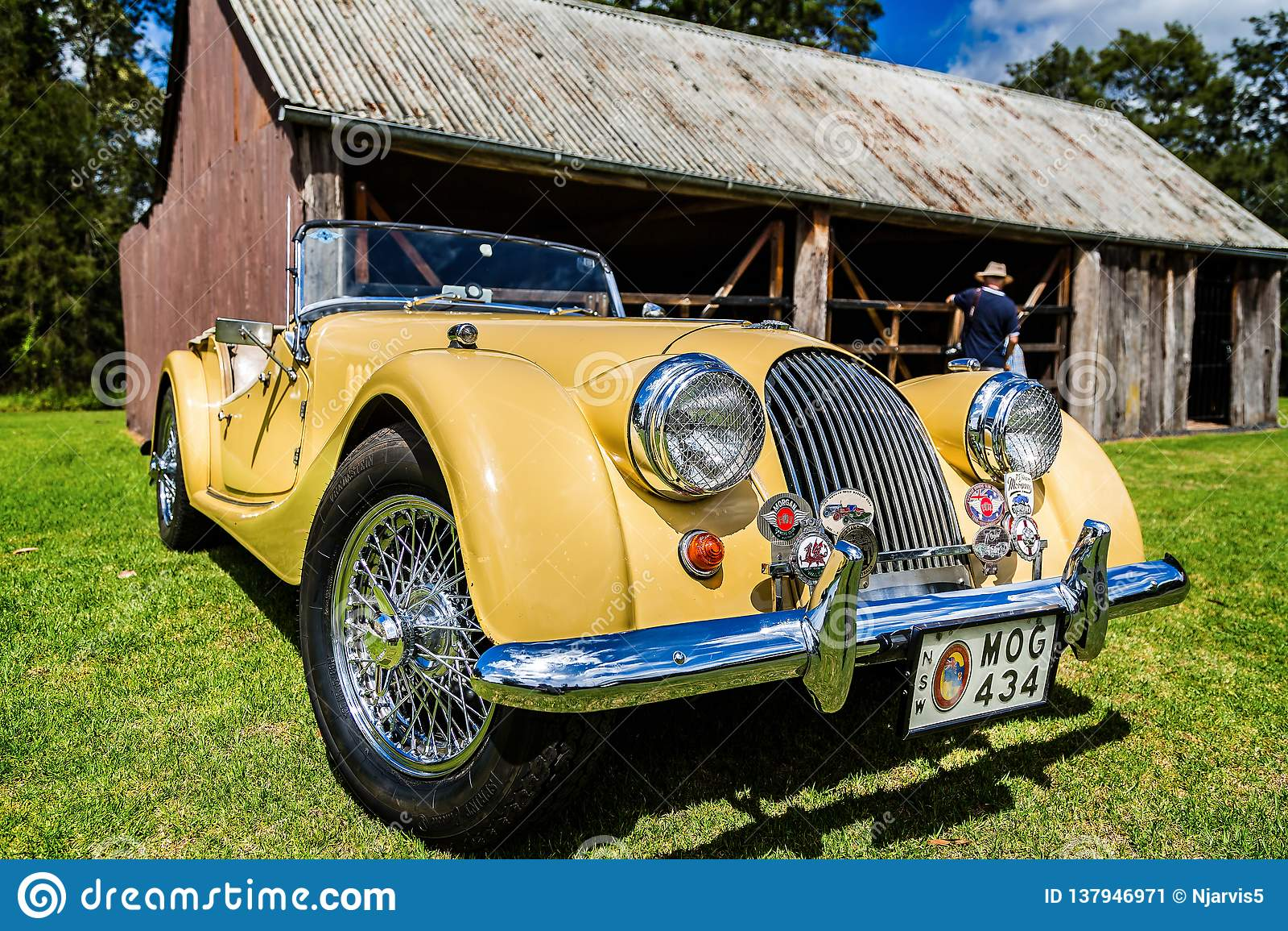 Classic Yellow Morgan Sports Car In Fagan Park Nsw
