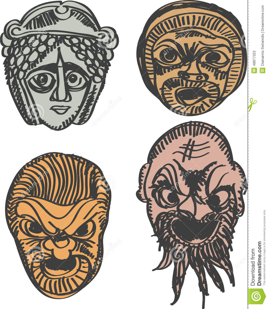Classical Ancient Greek Drama Masks Stock Vector - Image: 48877323