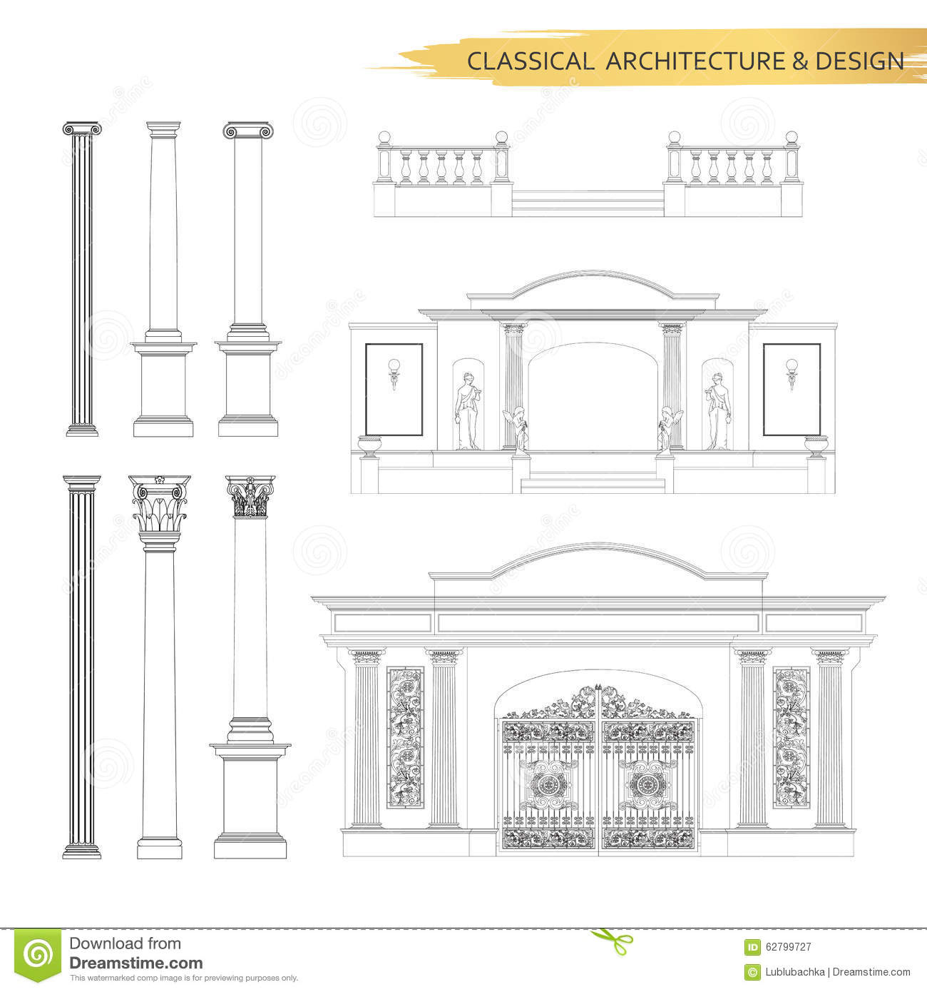 Classical Architectural Form Drawings In Set Vector Drawing Des