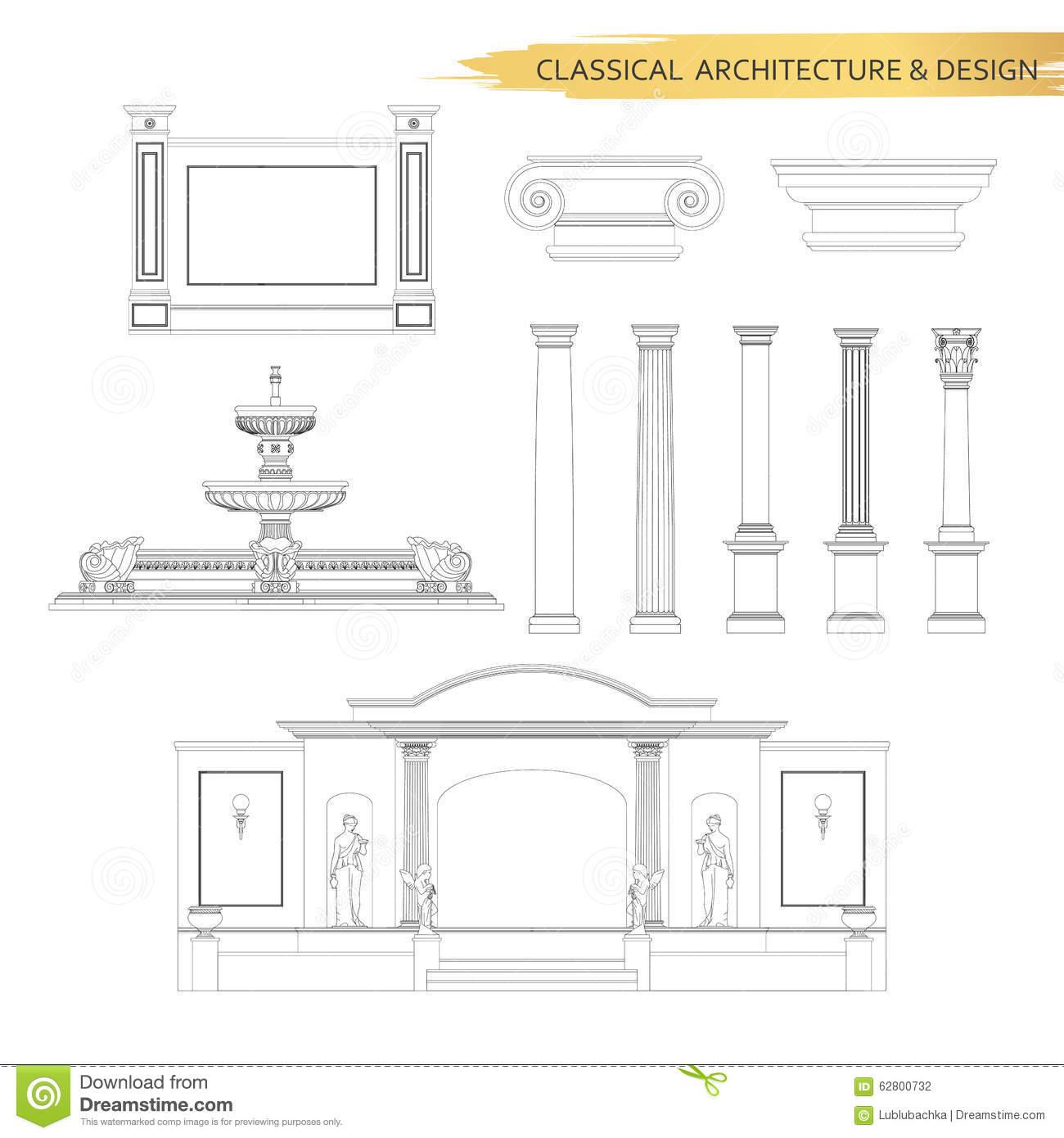 Classical architectural form drawings in set vector for Classic building design