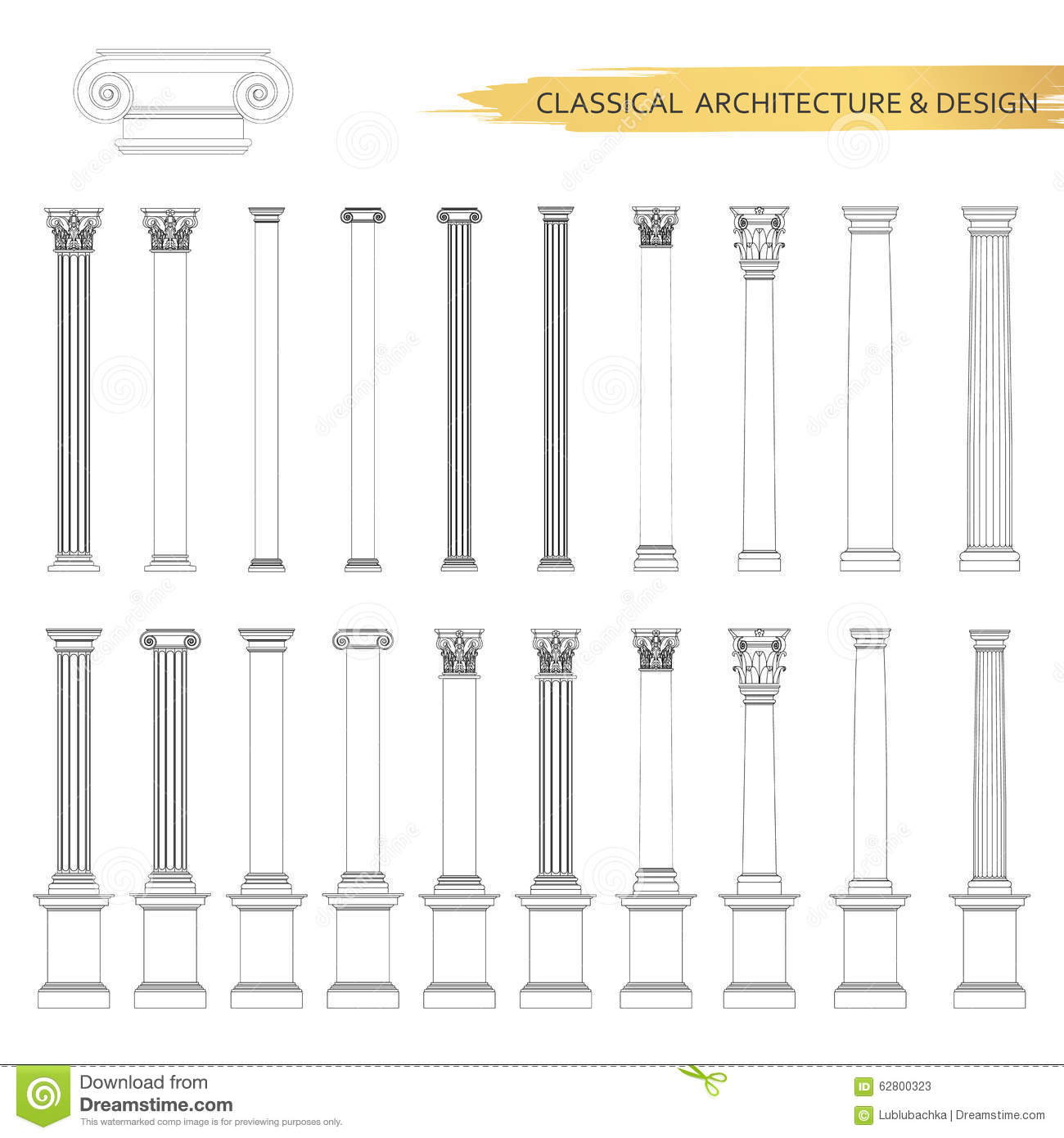 Architectural Drawing Set classical architectural form drawings in set. vector drawing