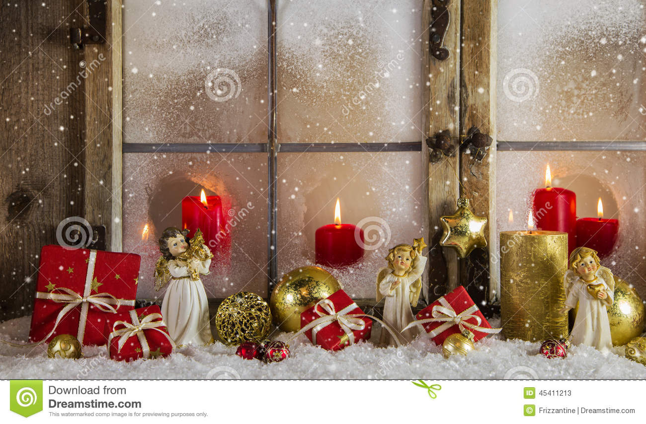 classical christmas wooden window decoration with red candles an - Classical Christmas