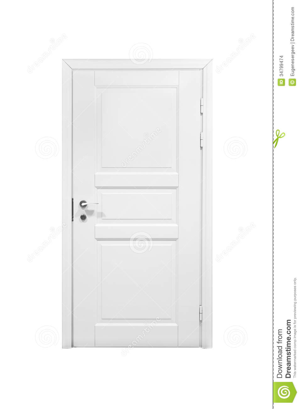 Classical Closed Wooden Door Isolated On White Stock Photo