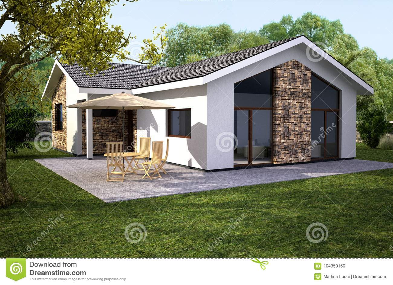 Classical europian house with modern style stock
