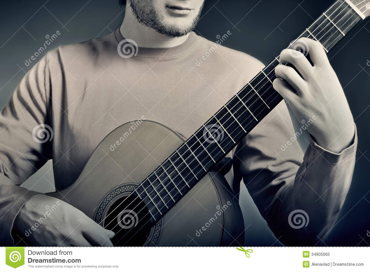classical guitar player details royalty free stock photo image 34805665. Black Bedroom Furniture Sets. Home Design Ideas