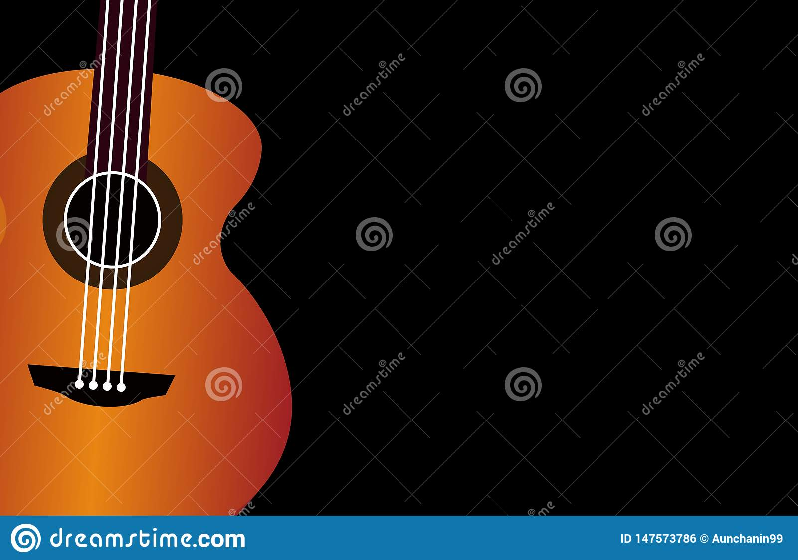 Classical Guitar Wallpaper Isolated On Black Background For