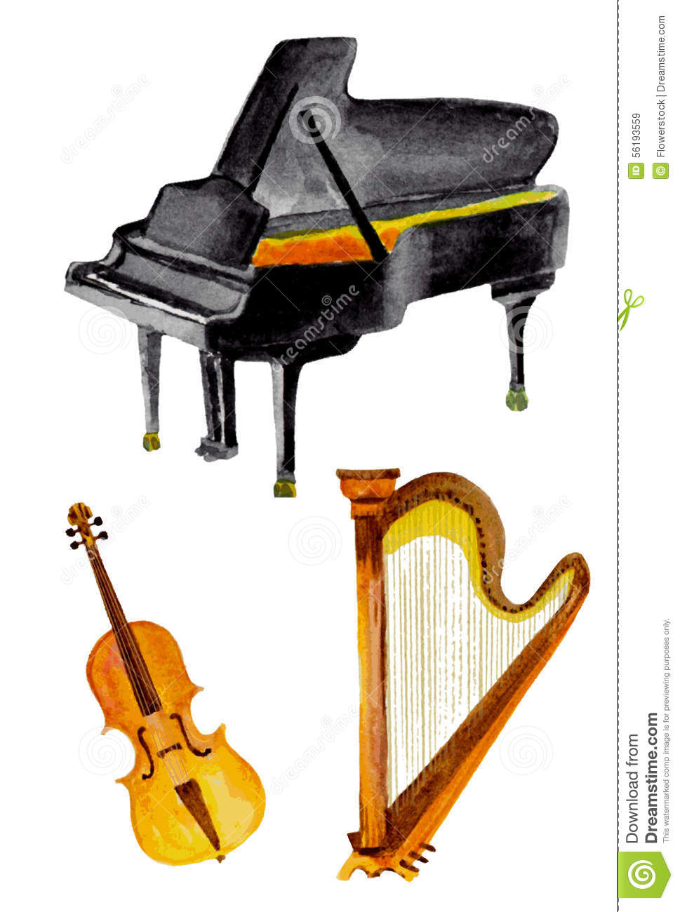 Classical Instruments In Watercolor Stock Vector ...
