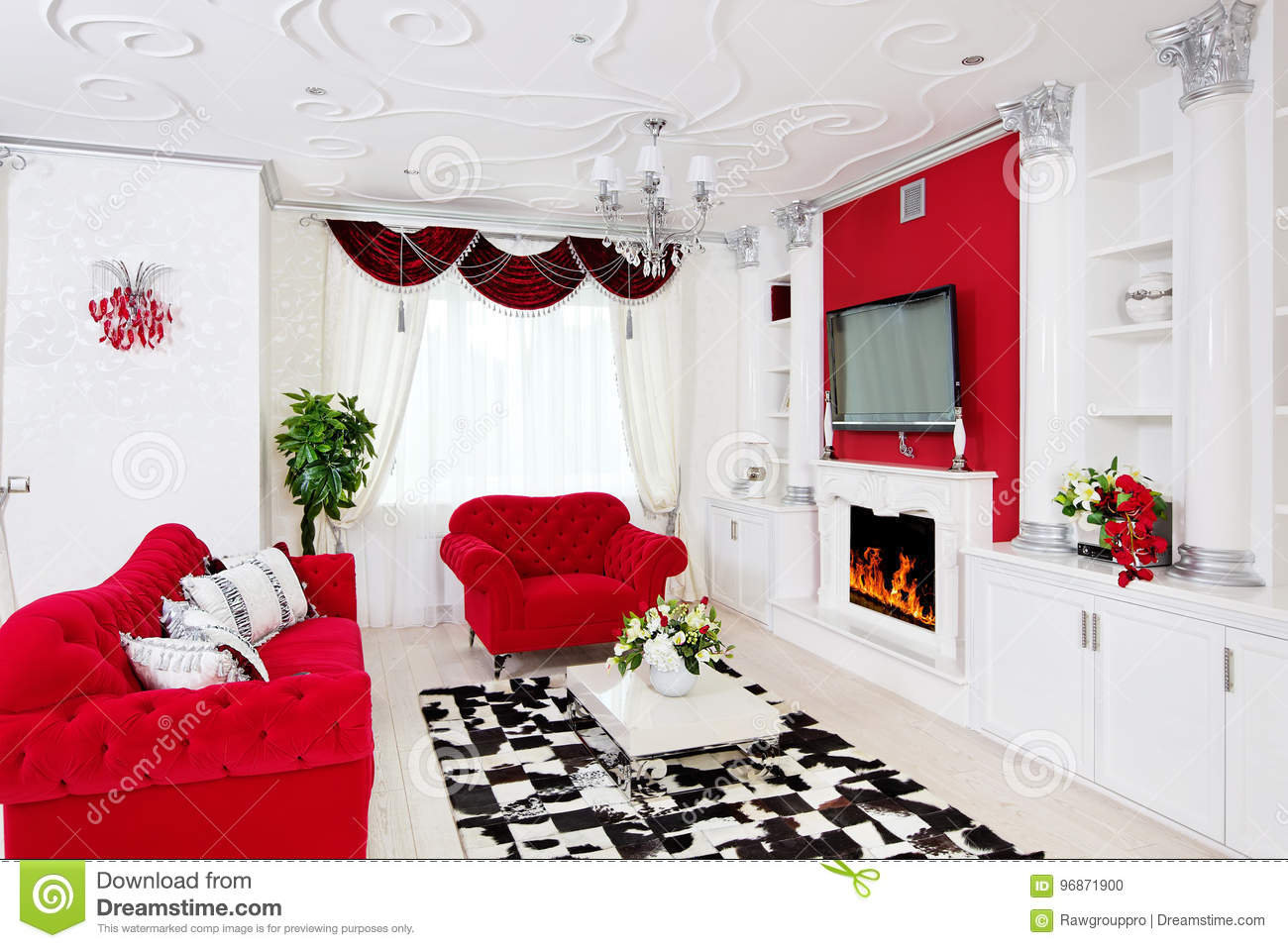 Classical Living Room Interior In White And Red With Fireplace Stock ...