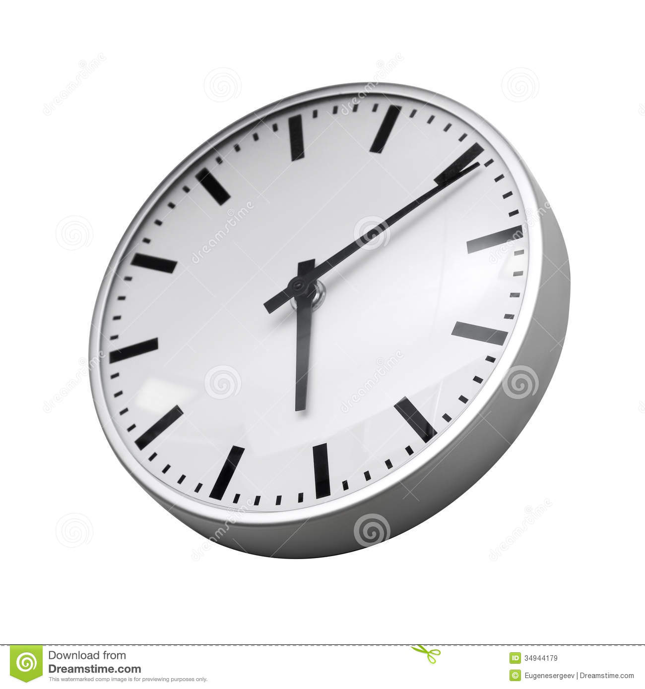 Classical Modern Wall Clock Isolated On White Royalty Free