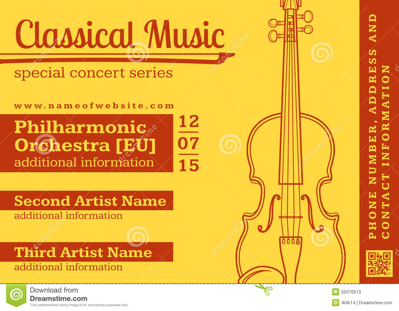 Classical Music Concert Violin Horizontal Music Flyer Template Stock Vector - Image: 55076513