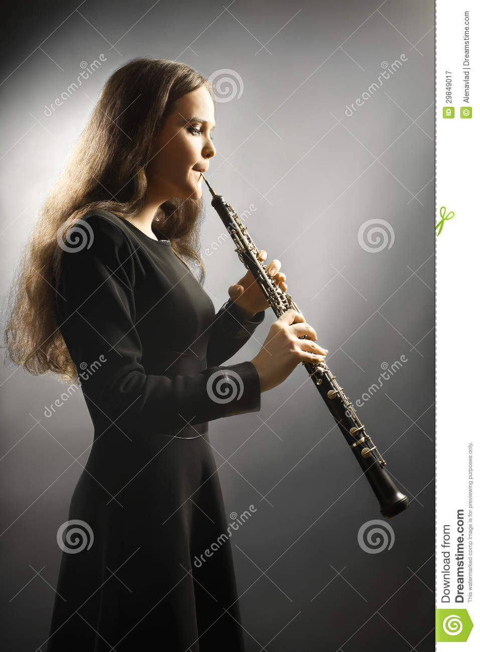 Classical Musician Oboe Musical Instrument Playing. Royalty Free Stock ...