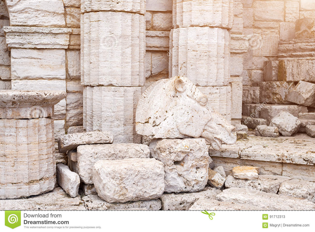 Marble Column Wall : Classical old greek columns and wall background with stone