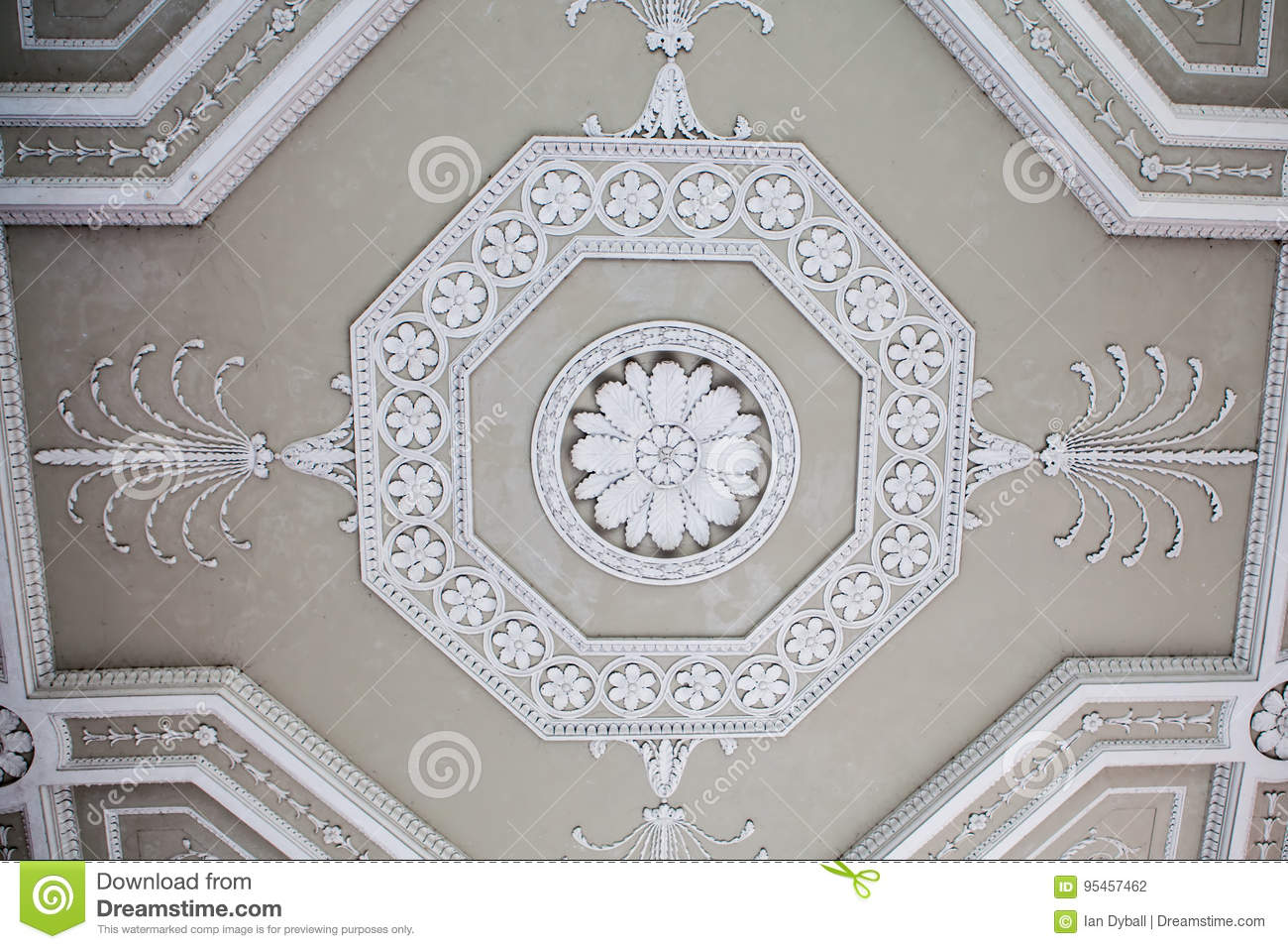 Classical Ornate Plaster Ceiling Decoration Stock Photo