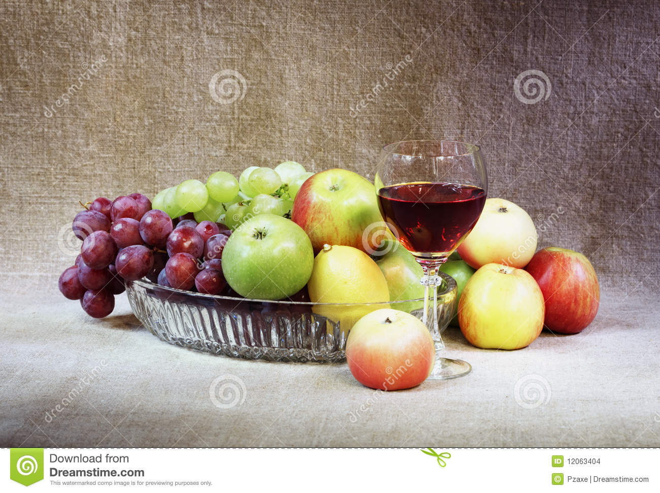 Classical Still-life With Fruit And Wineglass Stock Photo ...