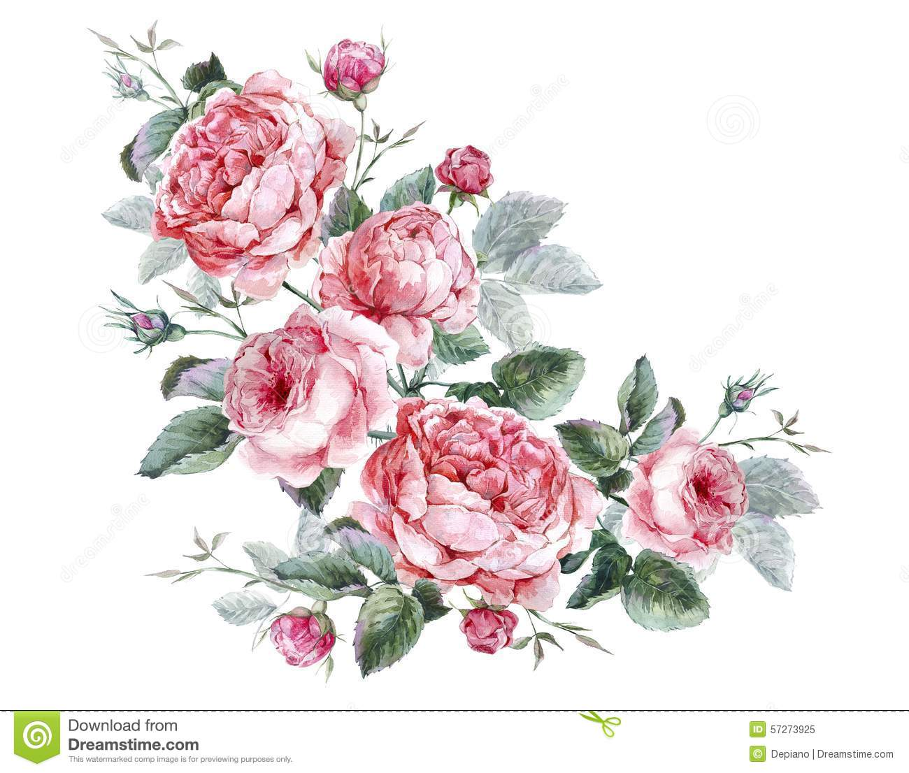 Classical Vintage Floral Greeting Card, Watercolor Stock ...