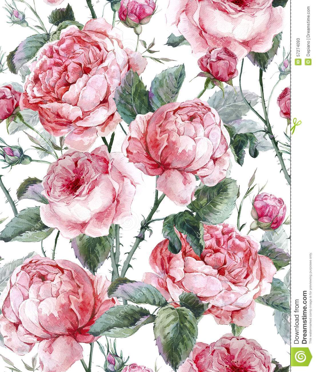 Classical Vintage Floral Seamless Pattern Stock