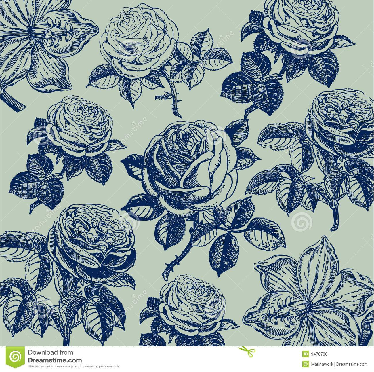 Classical wall-paper with a flower pattern.