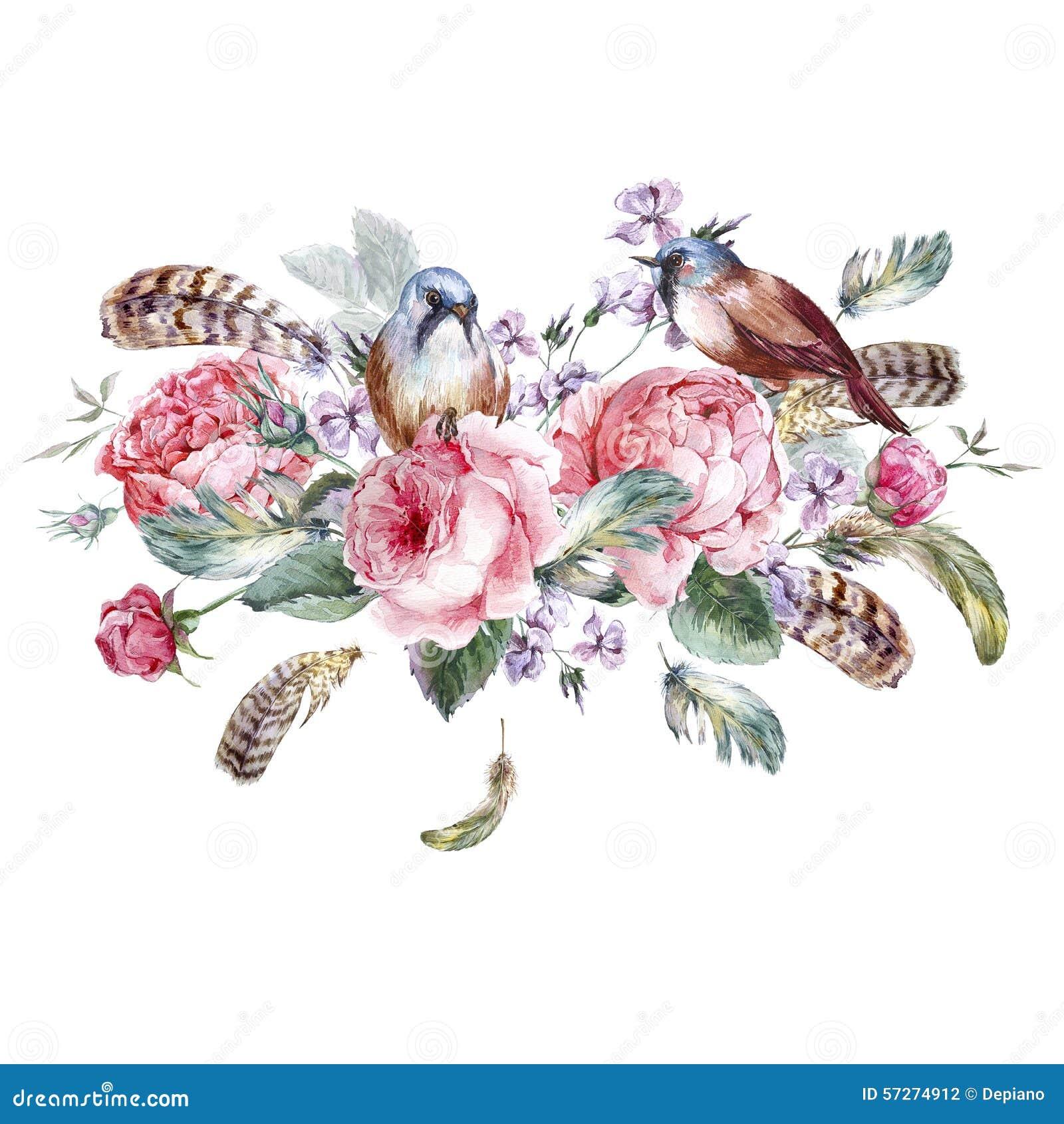 Vintage flower wallpaper designs vintage floral wallpaper - Classical Watercolor Floral Vintage Greeting Card Stock
