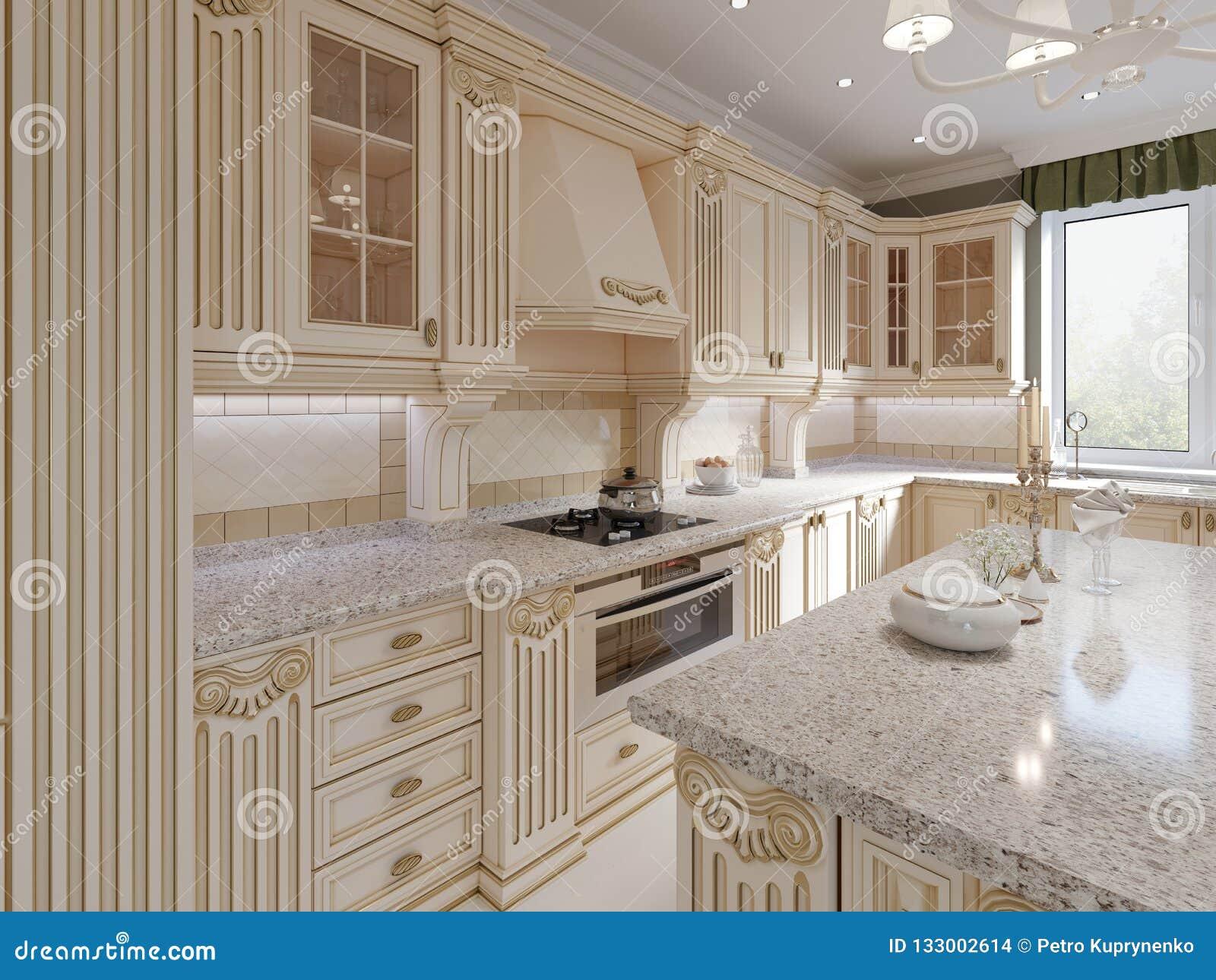 classical wooden kitchen with wooden details beige luxury