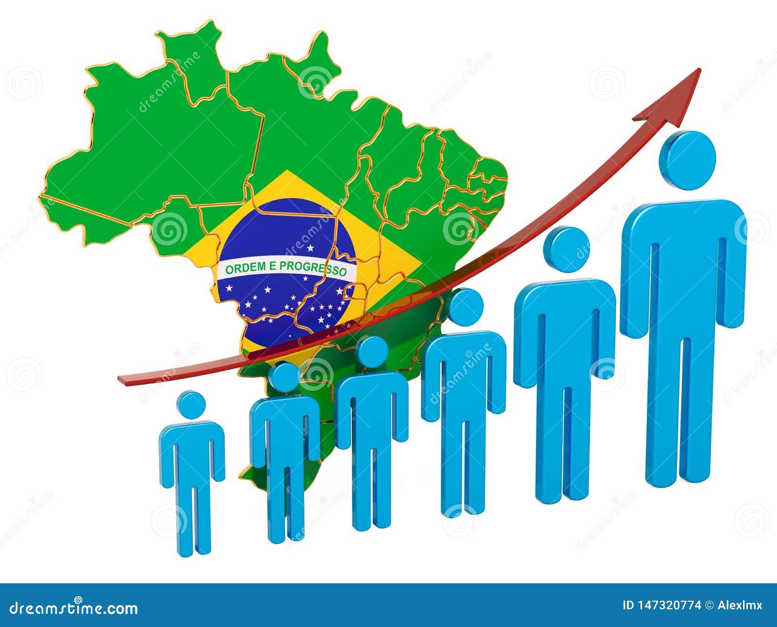 Classificatie van werkgelegenheid en werkloosheid of mortaliteit en vruchtbaarheid in Brazilië, concept het 3d teruggeven