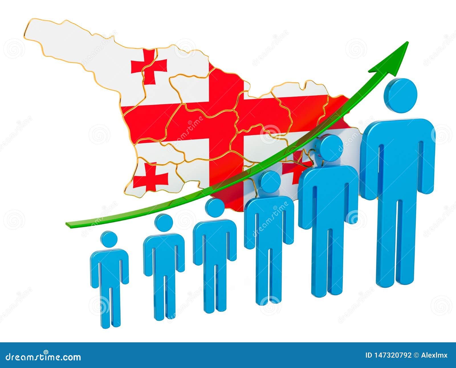 Classificatie van werkgelegenheid en werkloosheid of mortaliteit en vruchtbaarheid in Georgië, concept het 3d teruggeven