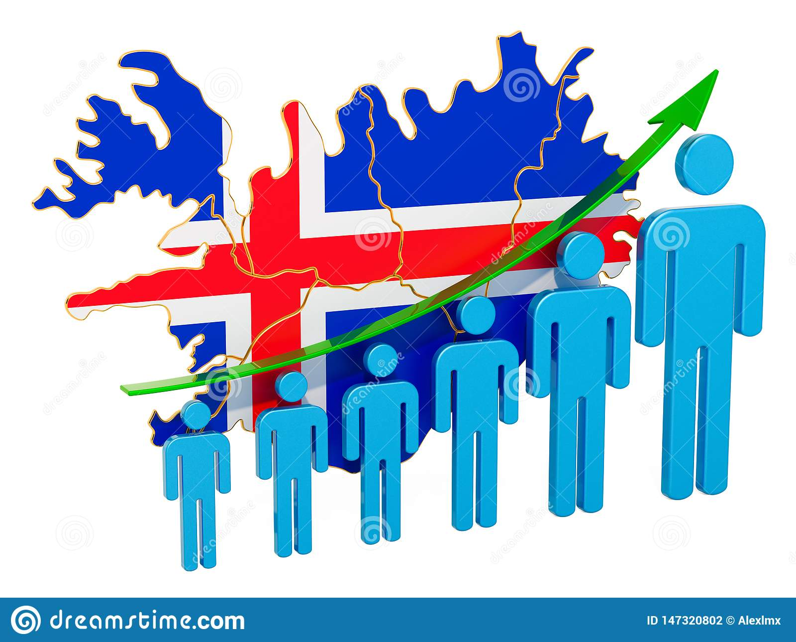 Classificatie van werkgelegenheid en werkloosheid of mortaliteit en vruchtbaarheid in IJsland, concept het 3d teruggeven