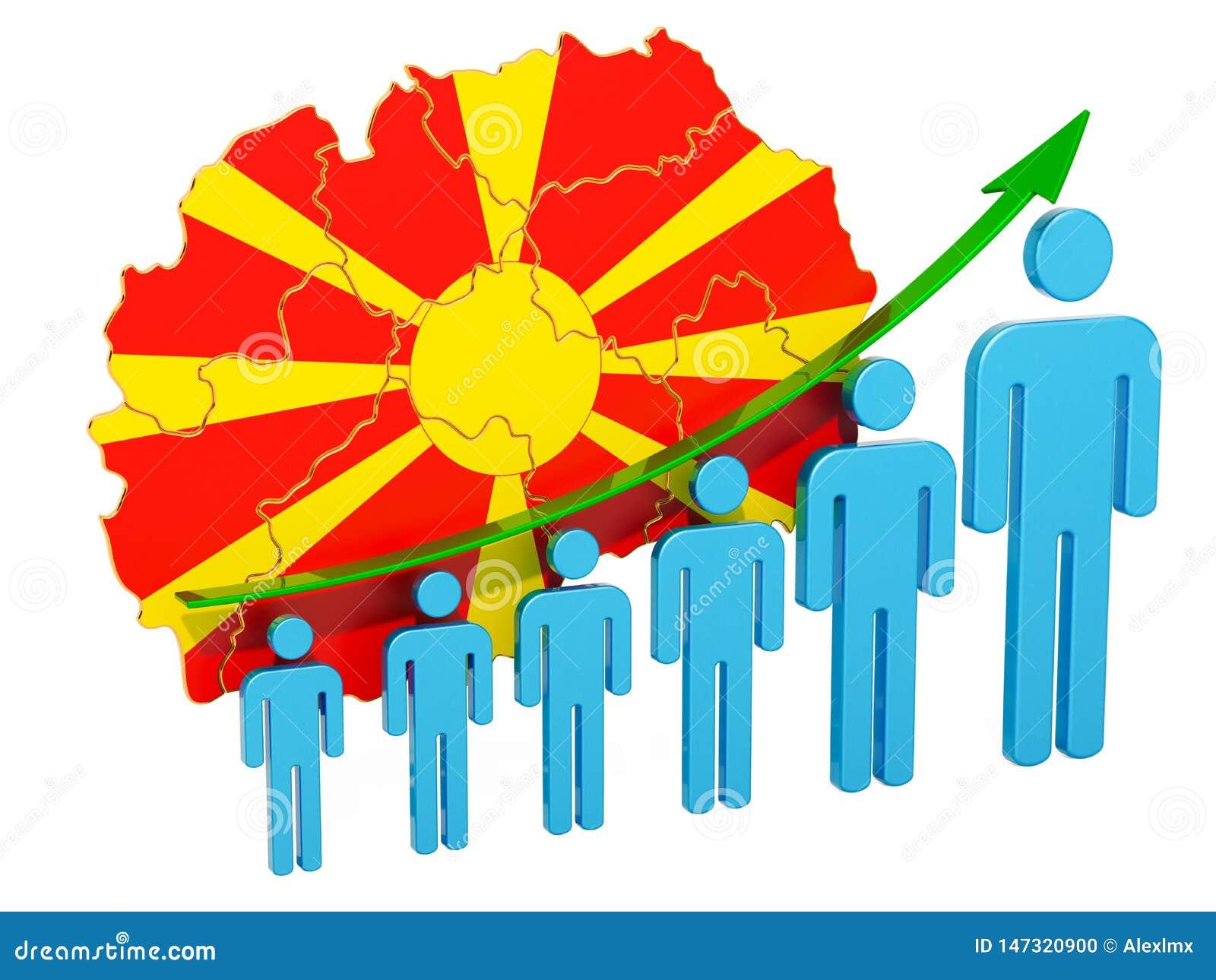 Classificatie van werkgelegenheid en werkloosheid of mortaliteit en vruchtbaarheid in Macedonië, concept het 3d teruggeven