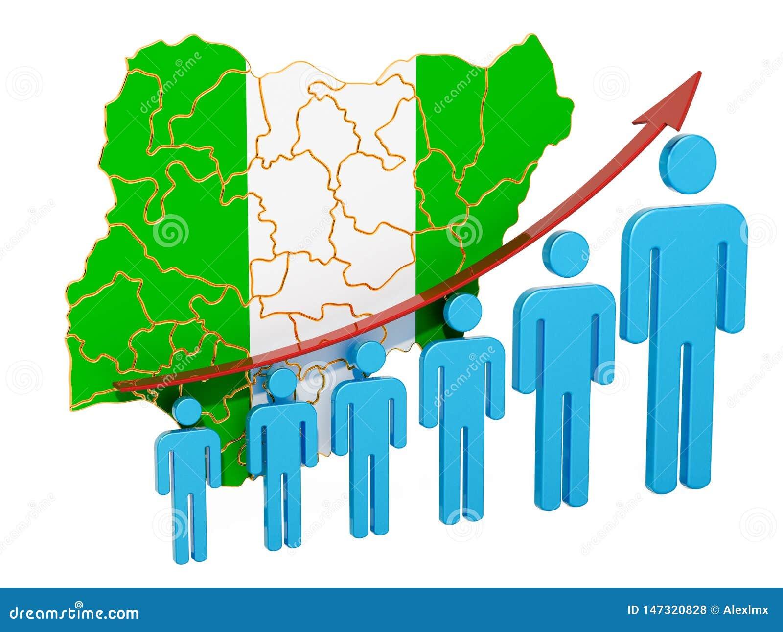 Classificatie van werkgelegenheid en werkloosheid of mortaliteit en vruchtbaarheid in Nigeria, concept het 3d teruggeven