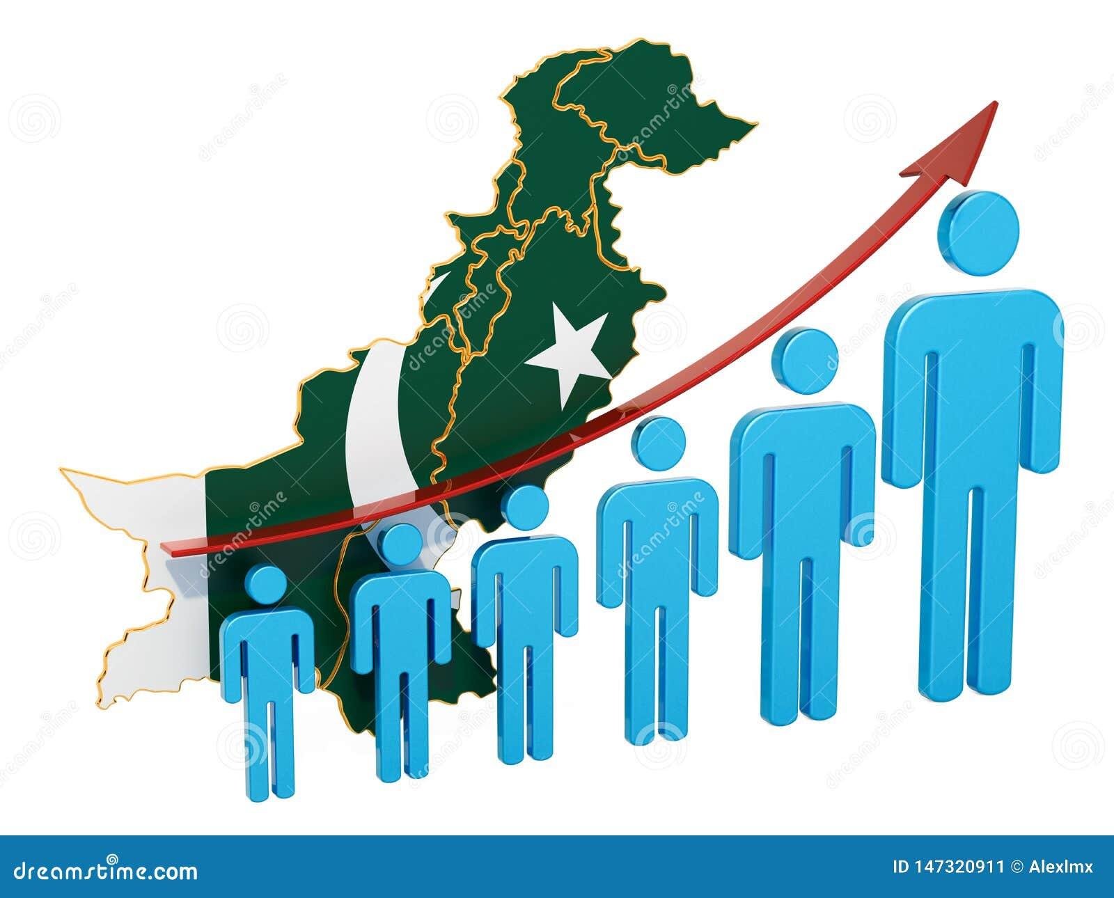 Classificatie van werkgelegenheid en werkloosheid of mortaliteit en vruchtbaarheid in Pakistan, concept het 3d teruggeven