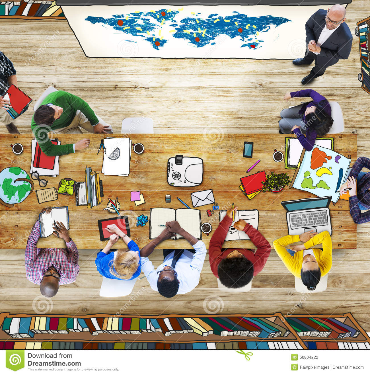 Classroom Aerial View People Learning Presentation World Map
