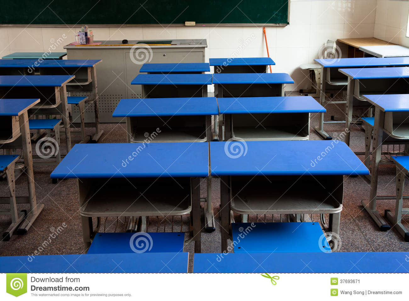 Classroom Desks Arranged In Neat Rows Stock Image - Image of ...
