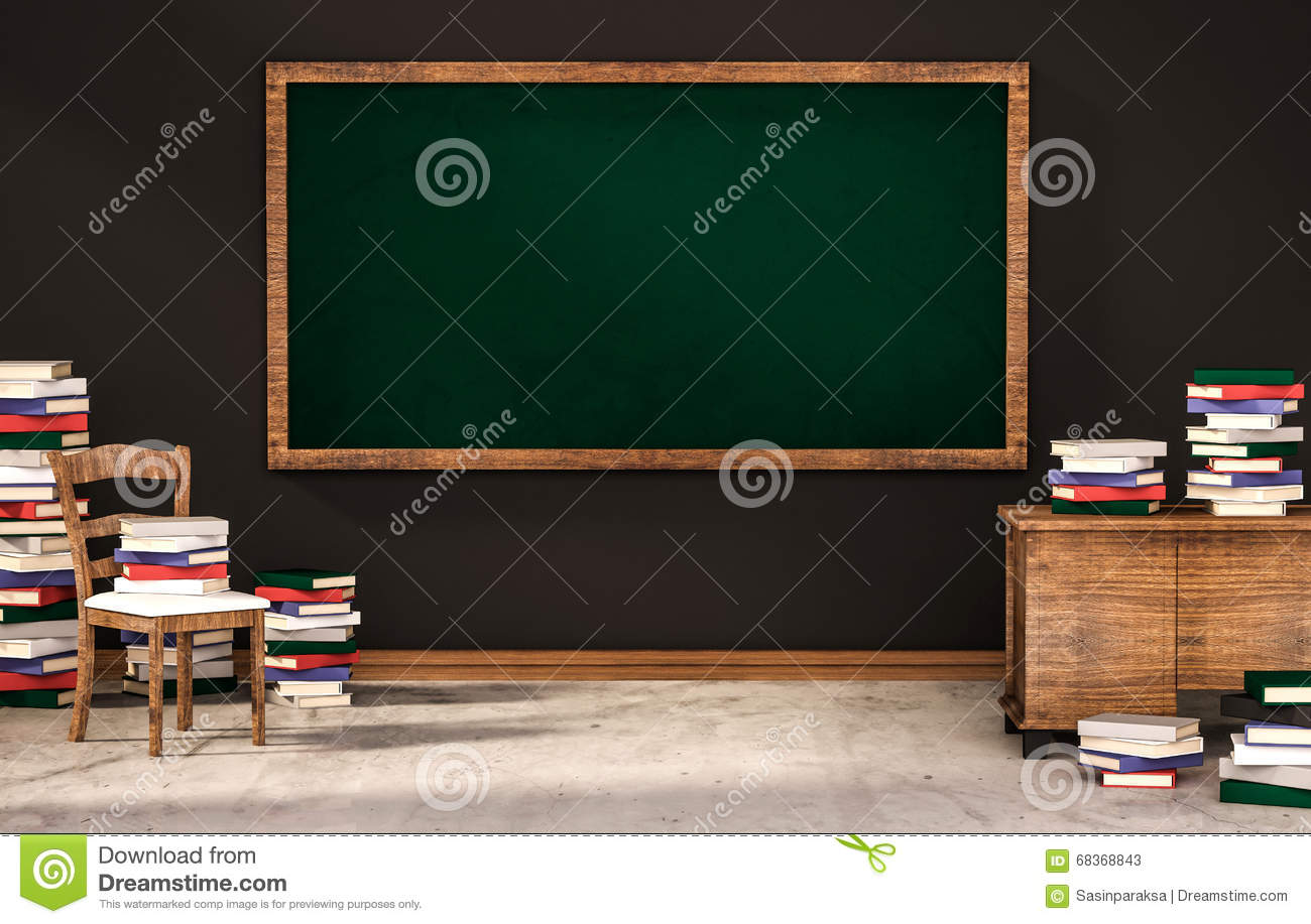 classroom  green blackboard on black wall with table  chair and piles of books on concrete floor