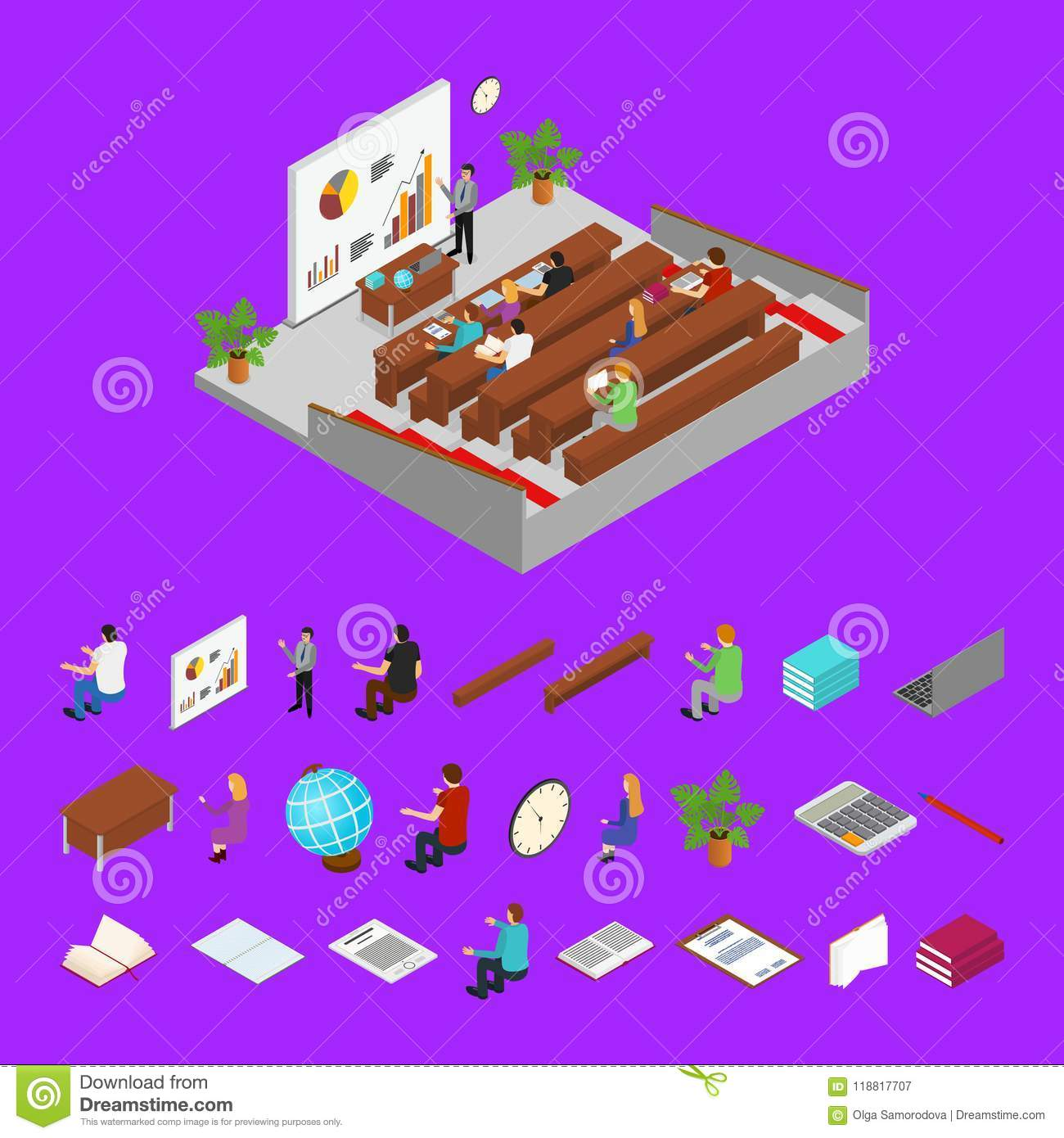 Classroom Interior With Furniture Parts And Students Isometric View Technology Computers Class Vector