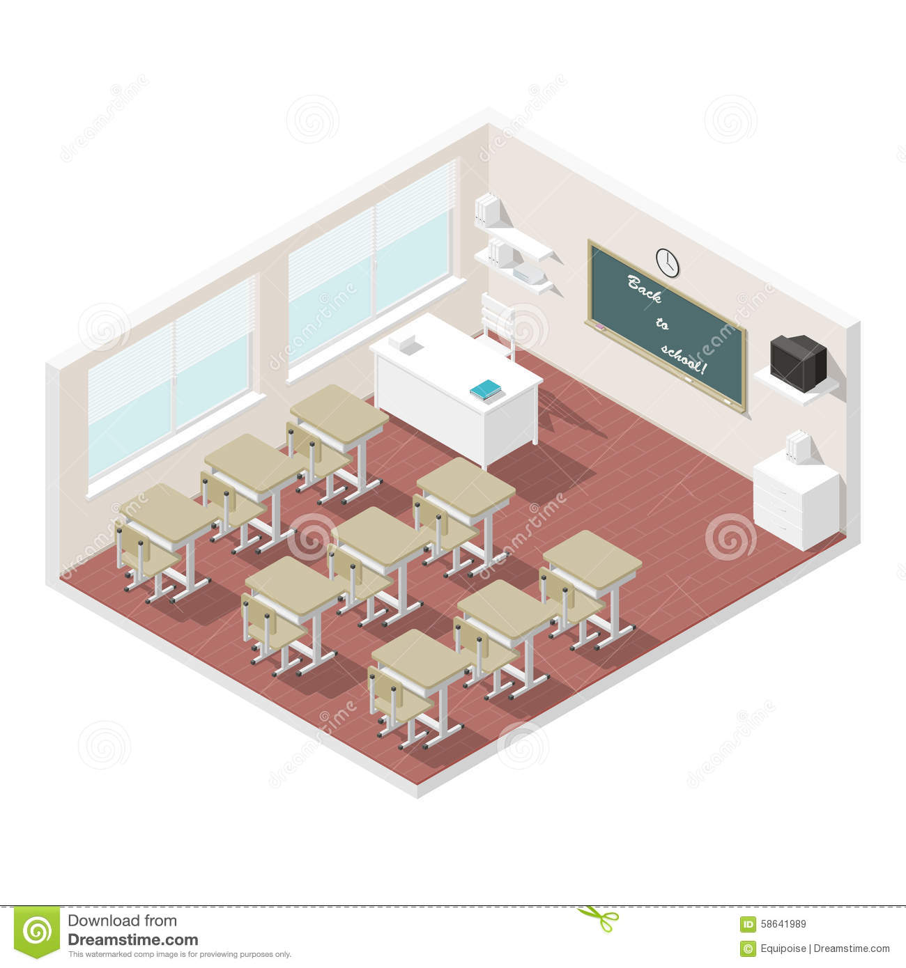 Modern High School Classroom Design ~ Classroom isometric icon set stock vector image