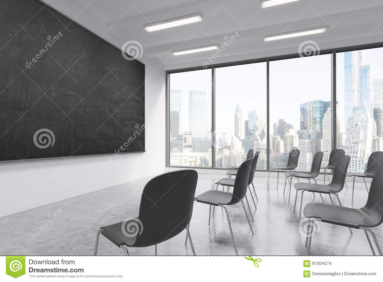 A Classroom Or Presentation Room In A Modern University Or Fancy Office.  Black Chairs,