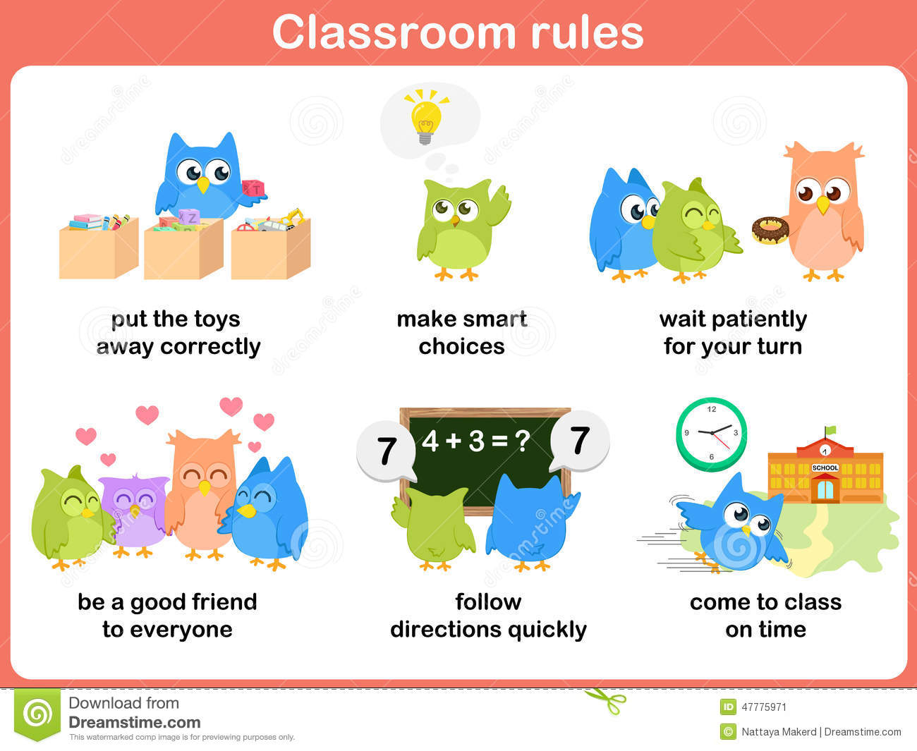 Kitchen Designers Jobs Classroom Rules For Kids Stock Vector Image 47775971