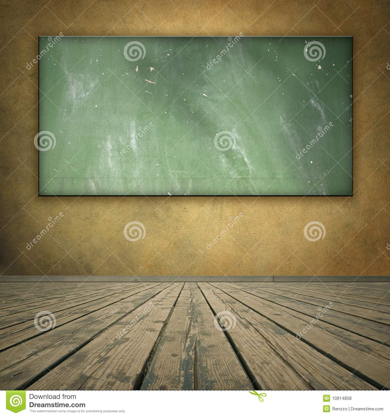 Classroom style grungy room with blackboard
