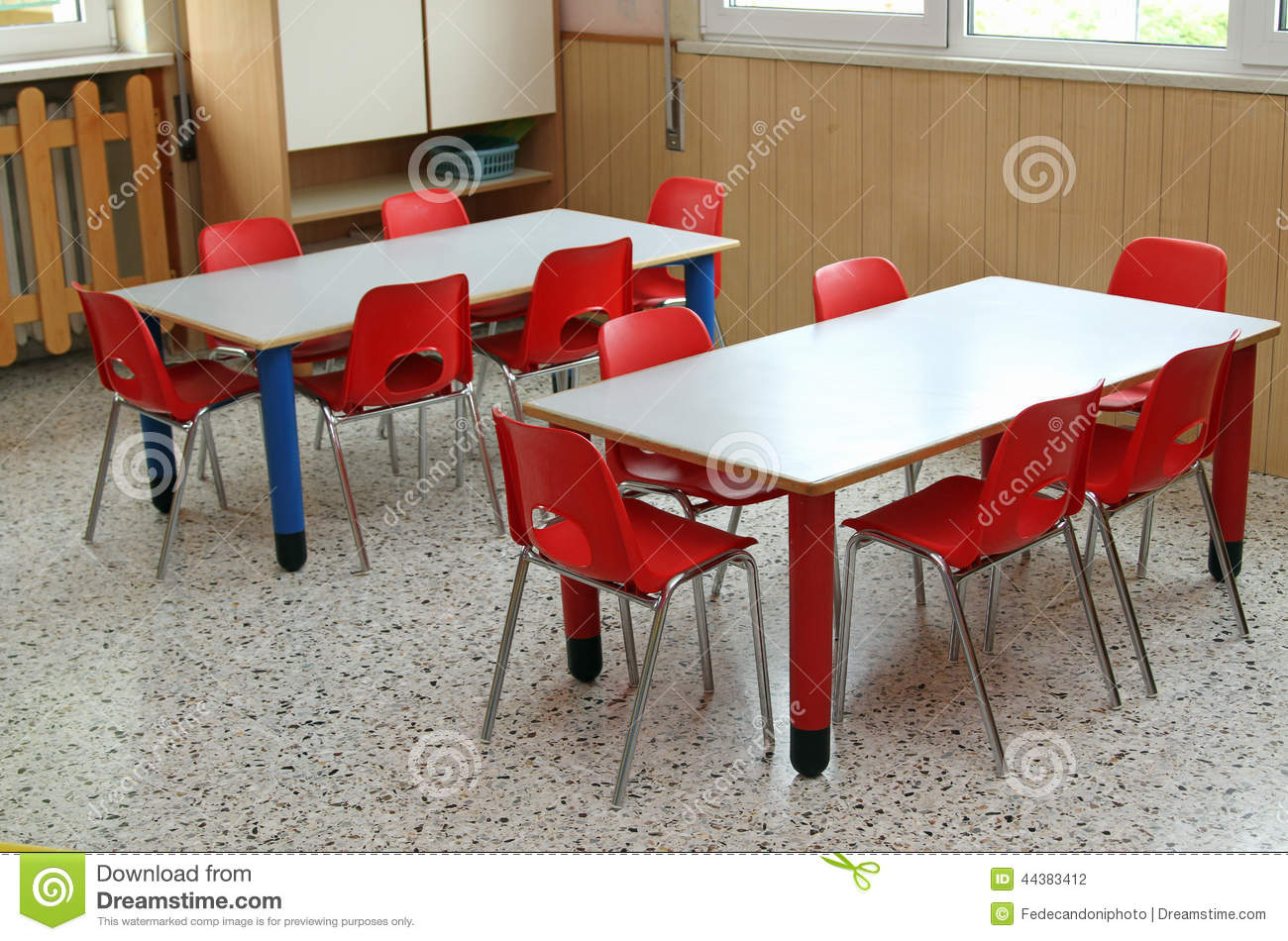 Classroom Furniture For Kindergarten ~ Classroom with table and small chairs in kindergarten