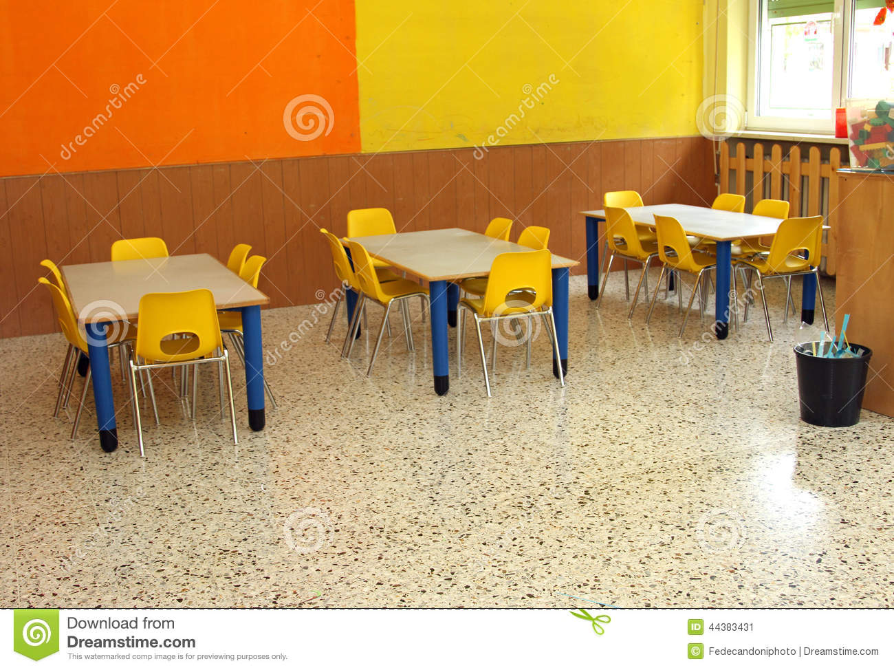Kindergarten classroom table - Classroom With Table And Small Chairs In Kindergarten Stock Image