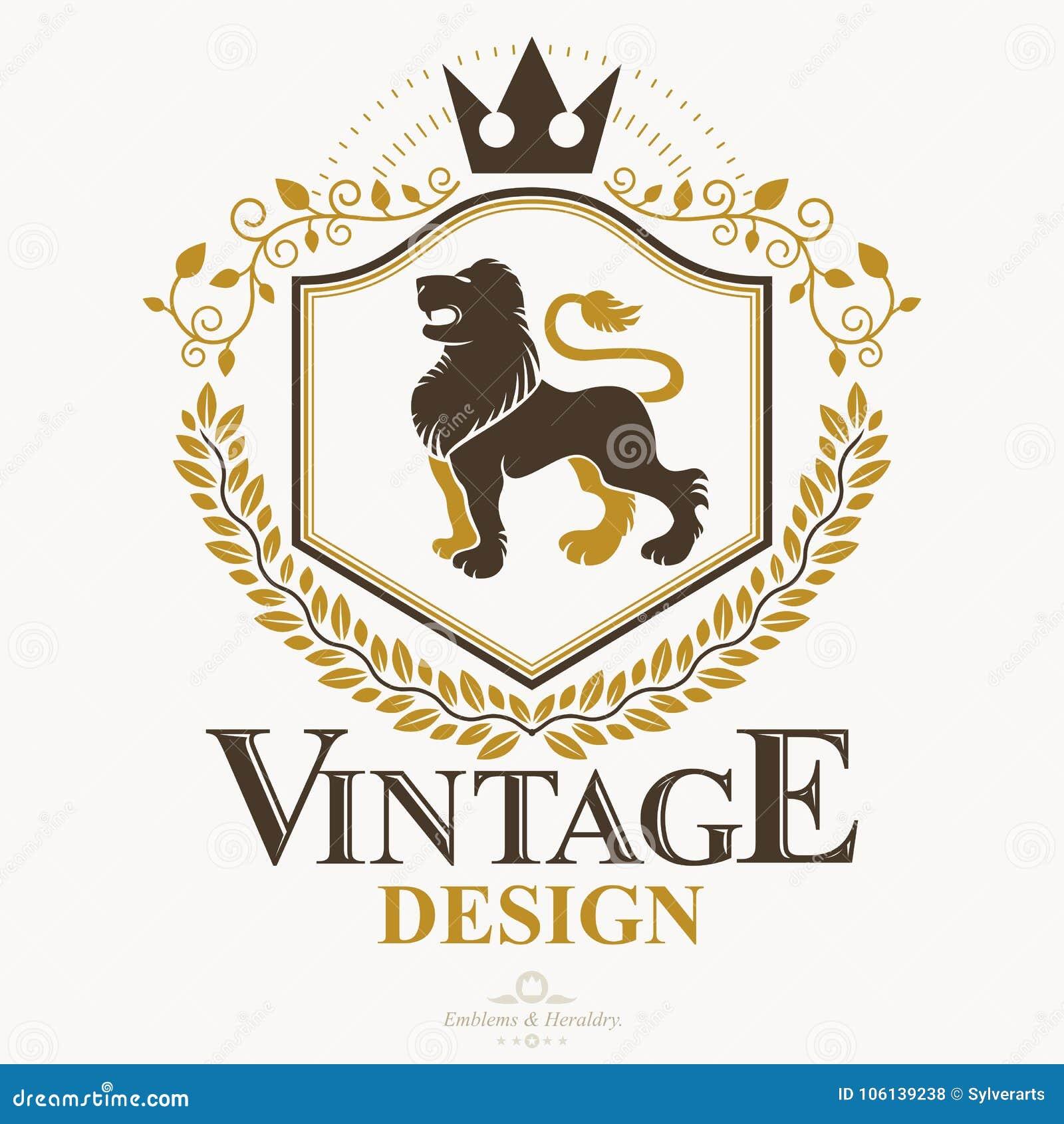 Coat Of Arms Logo Design | Classy Emblem Vector Heraldic Coat Of Arms Stock Vector