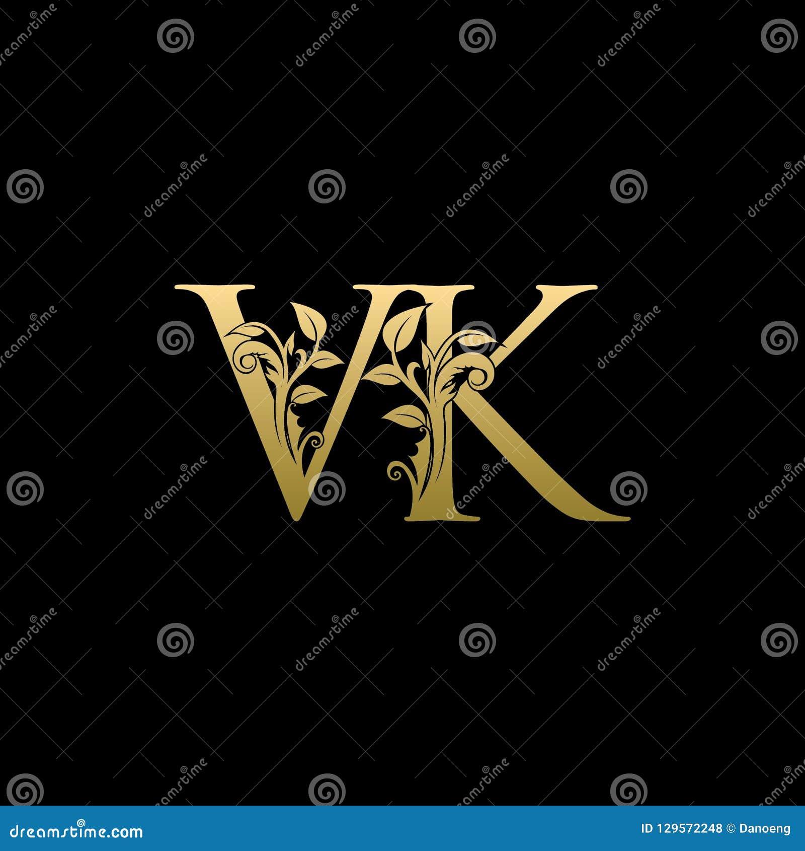Classy Gold Leaf VK Letter Logo Stock Illustration