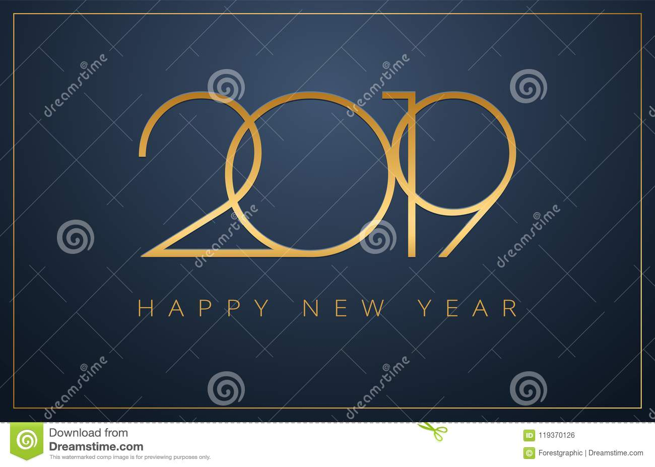 Classy 2019 Happy New Year background. Golden design for Christmas and New Year 2019 greeting cards vector