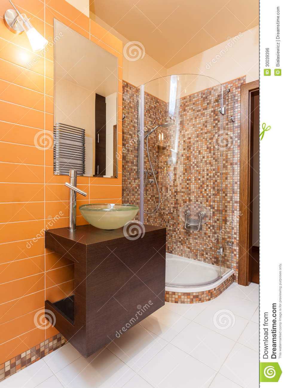 Classy House Orange Bathroom Royalty Free Stock Image