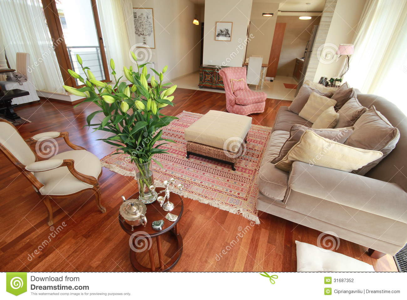 Royalty Free Stock Photo. Download Classy Living Room With Flowers ... Part 37
