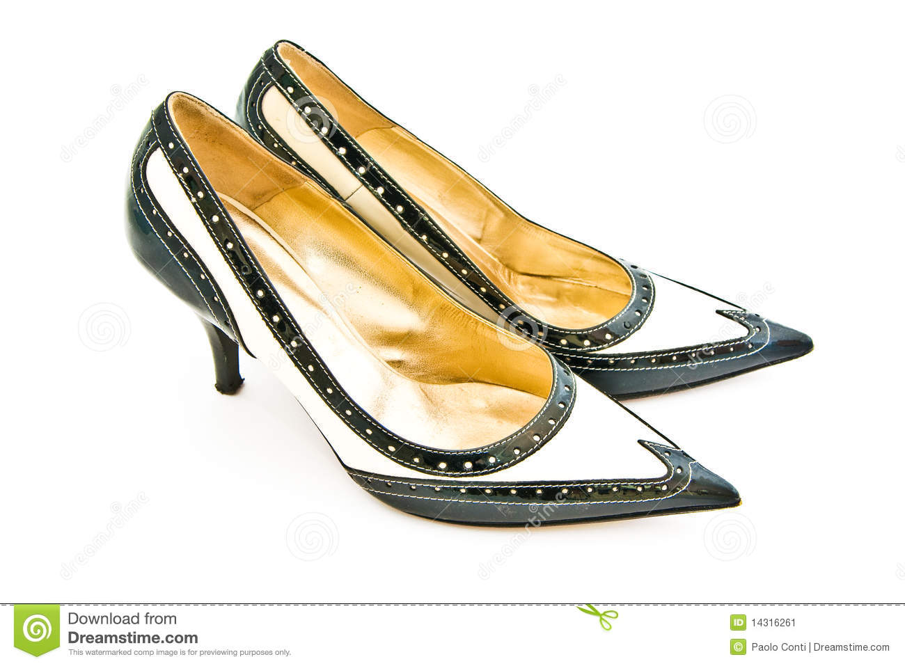 Black and white female heels shoes on a white background