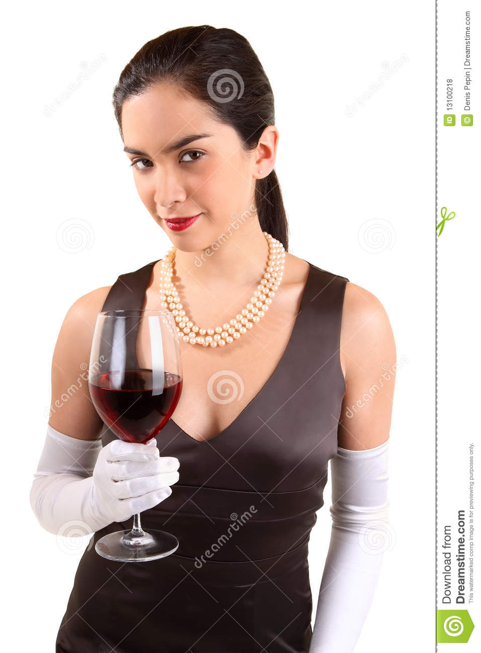 Classy Woman Holding A Glass Of Red Wine Royalty Free ...